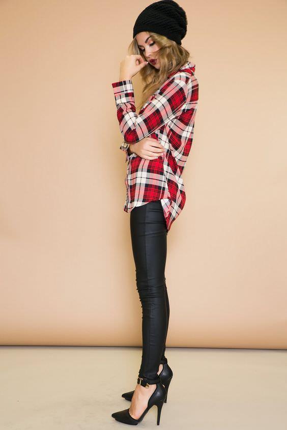 Καρό-πουκάμισο-με-δερμάτινο-παντελόνι aba90a6240d