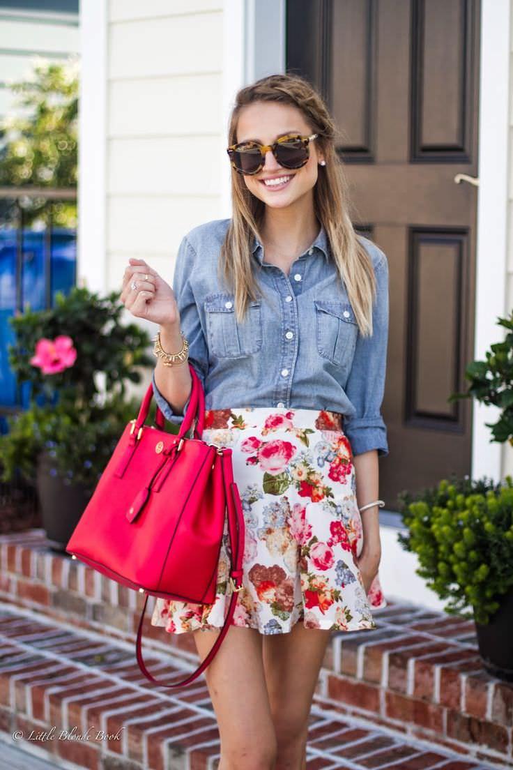 001 pinterest outfit fashion style summer spring denim shirt chambray, floral skirt, skater skirt sunglasses, pink oversize bag
