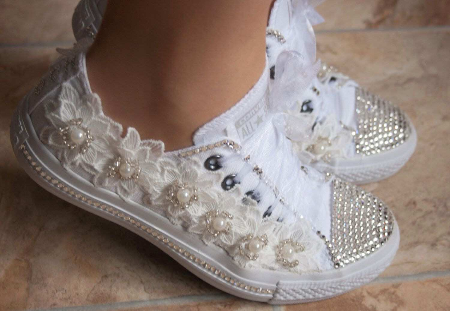Unique wedding dress with converse From Wedding Wedding Converse Trainers With Crystals Lace