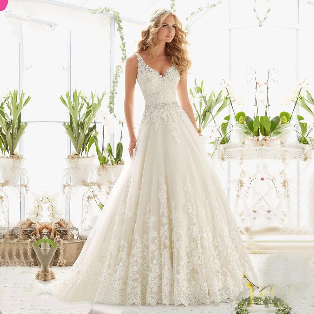 New-Design-A-Line-Lace-Wedding-Dresses-V-Neck-Beaded-Sash-Backless-Sexy-font-b-Vintage