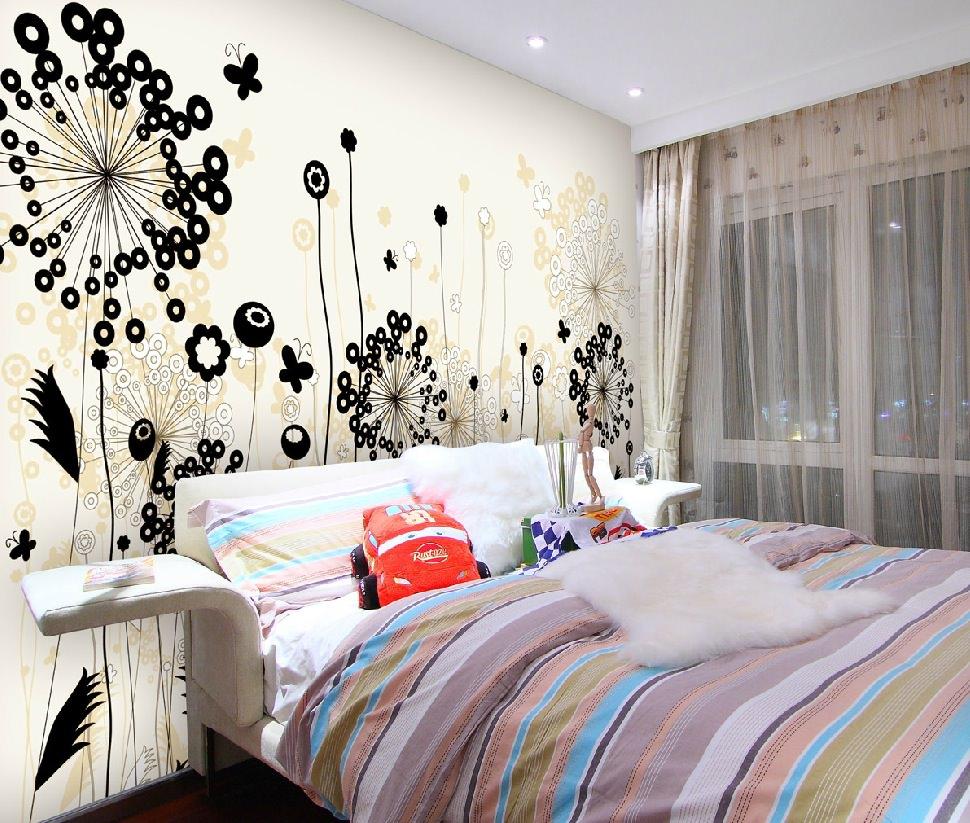 black-floral-design-concept-wallpaper-in-bedroom