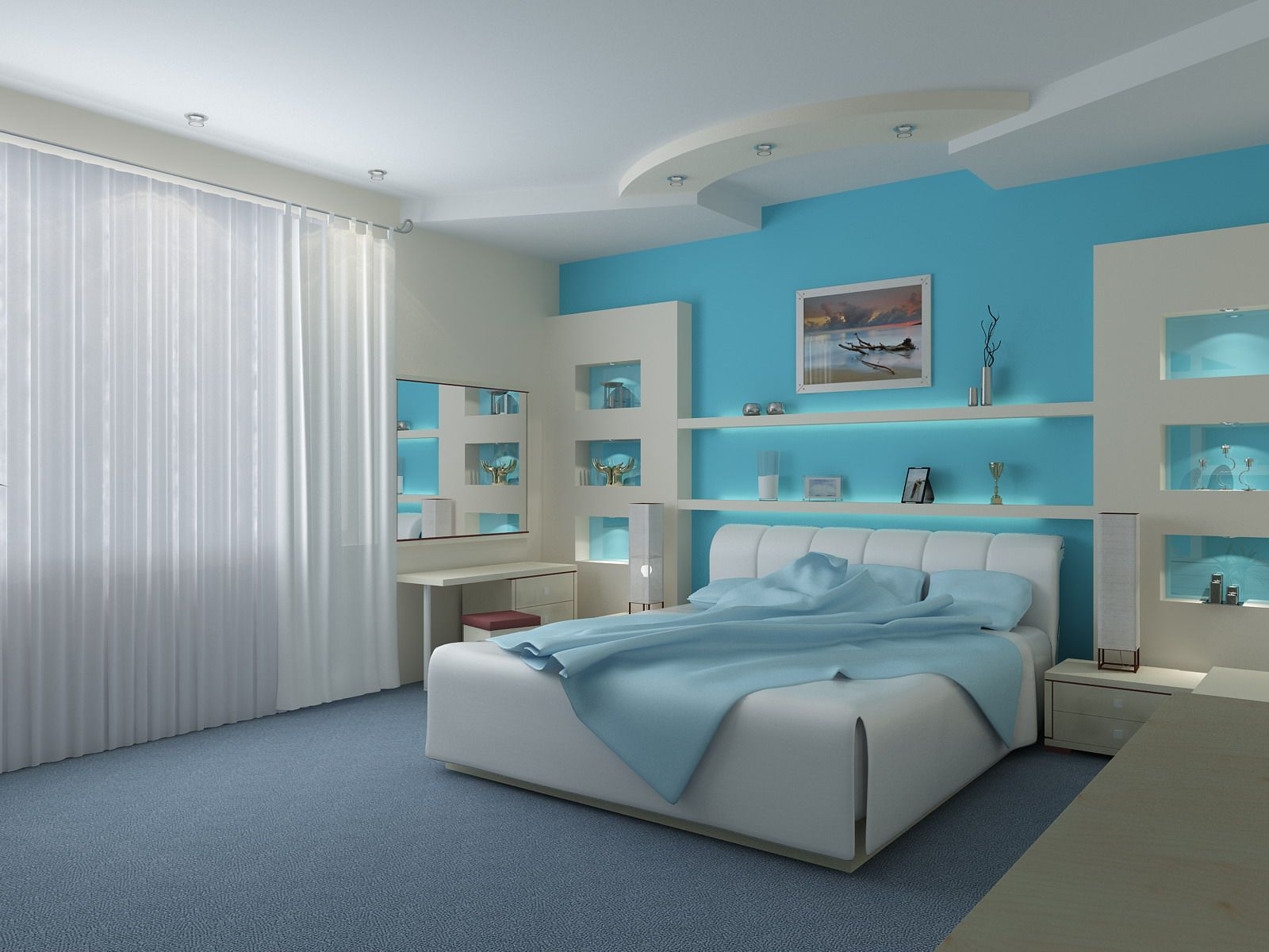 bedroom-wonderful-blue-bedrooms-with-modern-bed-and-gray-area-rugs-plus-white-curtains-beach-style-blue-bedrooms-for-nice-your-bedroom-decor-ideas-tiffany-blue-bedrooms-tiffany