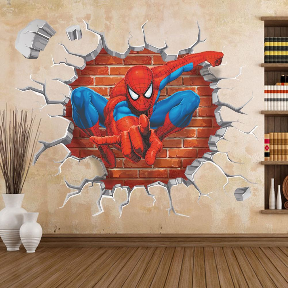 3D Halloween Graffiti Art Wall Bedroom The New 3D Stereo Spider Man Wall Paper Hot Sale Children's Room